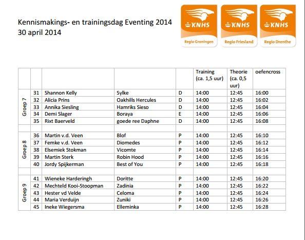 Startlijsten Eventing Kennismakengs-trainingsdag 30 april 2014